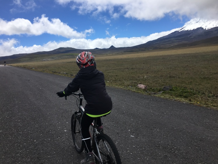 Biking along Antisana Volcano